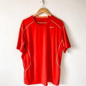 Nike Pro Combat Men's Red Short Sleeve Shirt XXL